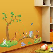 Wall Mural Decals Flowers by 3d Cartoon Jungle Wild Animal Tree Bridge Flowers Wall Stickers