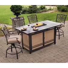 traditions 5 piece high dining bar set in tan with 30 000 btu fire