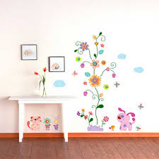 Beautiful Kids Room Decorating Design Ideas With Creative Removable Flower Wall Art Also