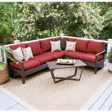 Patio Cushions Home Depot Canada by Augusta 5 Piece Wicker Outdoor Sectional Set With Red Cushions