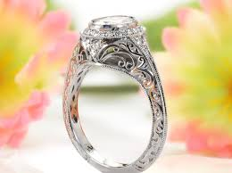Halo Engagement Ring In Kansas City With Engraving Filigree And Oval Center Stone