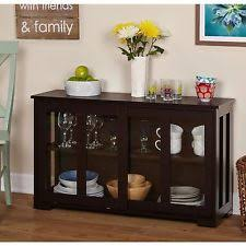 Glass Front Cabinet Stackable Kitchen Dining Room China Buffet Storage Furniture