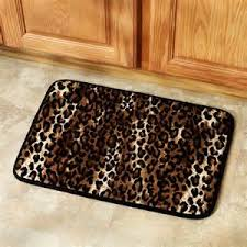 leopard print bathroom set shower curtain rugs towels mat animal