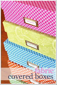 Decorating Fabric Storage Bins by One Yard Décor Fabric Covered Boxes In My Own Style