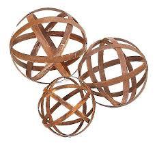 Australian Rusted Sculptural Ball Set Of 3 Garden