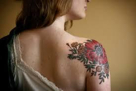 Back Shoulder Flower Tattoo Designs On For Women
