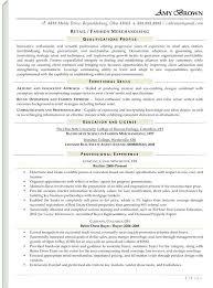 Merchandising Resume Samples Retail Examples On Visual