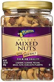 Planters Deluxe Mixed Nuts with Sea Salt 34 oz SnackyAttacky