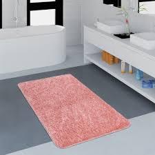 microfaser badezimmer teppich einfarbig rosa badteppich