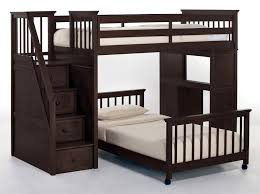 Wood Bunk Beds With Stairs Plans by Bedroom Black Walnut Wood Low Bunk Bed With Three Step Stair