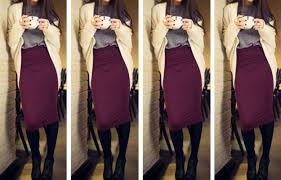 Red Wine Midi Skirt Winter Outfit Idea