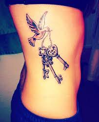 Keys Dove Tattoo Design