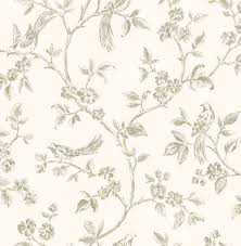 Shabby Chic Powder Cream And Gold Birds In Floral Branches Wallpaper