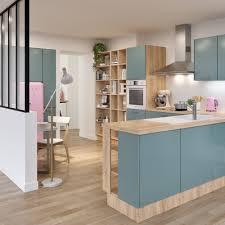 cuisine avec snack bar cuisine bleu et bois clair avec une verrière cuisine et salle à