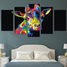toile chambre vente chaude hd imprimé coloré girafe peinture impression sur toile