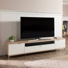 nelson wooden tv cabinet large in white and light oak looks unique