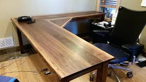 Custom L Shaped Desk Rustic Wood Office Boulder Furniture Arts Shape Walnut Liveedge