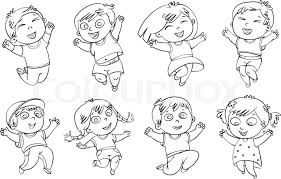 Stock Vector Of Children Jump For Joy Coloring Book Illustration Isolated