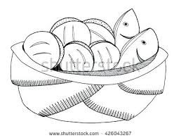 Interesting Two Fish And Five Loaves Of Bread Coloring Page Best Line Art Drawing Stock Illustration