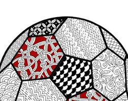 Adult Coloring Page Football For Adultssoccer Ball Instant Soccer
