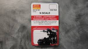99 N Scale Trucks 302061 MICRO TRAIS 003 02 061 6WHEEL PASSEGER CAR W ADJ