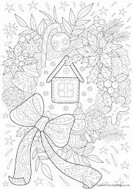 Christmas Wreath Doodle Colouring Page