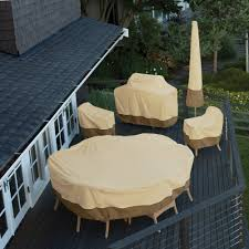 Fitted Round Outdoor Tablecloth With Umbrella Hole by Classic Accessories Veranda Round Patio Table U0026 Chair Set Cover