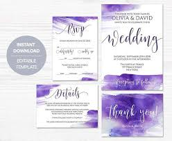 Modern and trendy Ultra Violet Watercolor Wedding Invitation