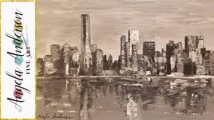 Easy City Skyline Landscape Acrylic Painting Palette Knife Grayscale Tutorial LIVE