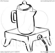 Clipart Of A Retro Vintage Black And White Coffee Percolator On Wamer