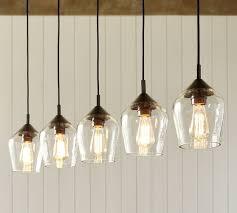 glamorous donovan glass 5 light pendant pottery barn in lights