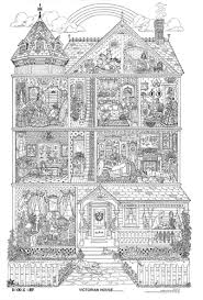 Doodle Art Victorian House Coloring Page Poster BW