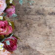 Rose Flowers On Rustic Wooden Background Copy Space