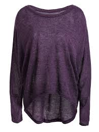 asymmetrical dolman sleeve sweater in purple l sammydress com
