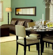 Solemn Green Dining Room With Formal Table Set Also Corner Shade Stand Lamps Added Modern Couch In Small Open Interior Decors