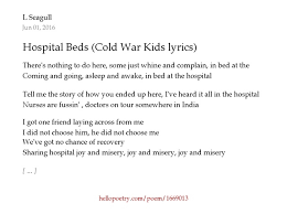hospital beds cold war kids lyrics by l seagull hello poetry
