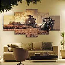 taxpy wandbild wohnzimmer 5 stücke wandkunst traktor ölgemälde leinwand gemälde kein rahmen 20x35cmx2 20x55cmx1 20x45cmx2