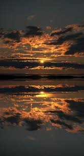 False Sunset Seascape Mirrored Reflection Flatanger Archipeligo Norway By Andy Astbury