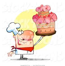 Happy Bakery Chef Holding up a Cake