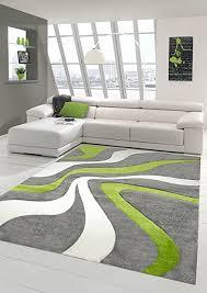 designer teppich moderner teppich wohnzimmer teppich kurzflor teppich mit konturenschnitt wellenmuster grün grau weiss größe 120x170 cm