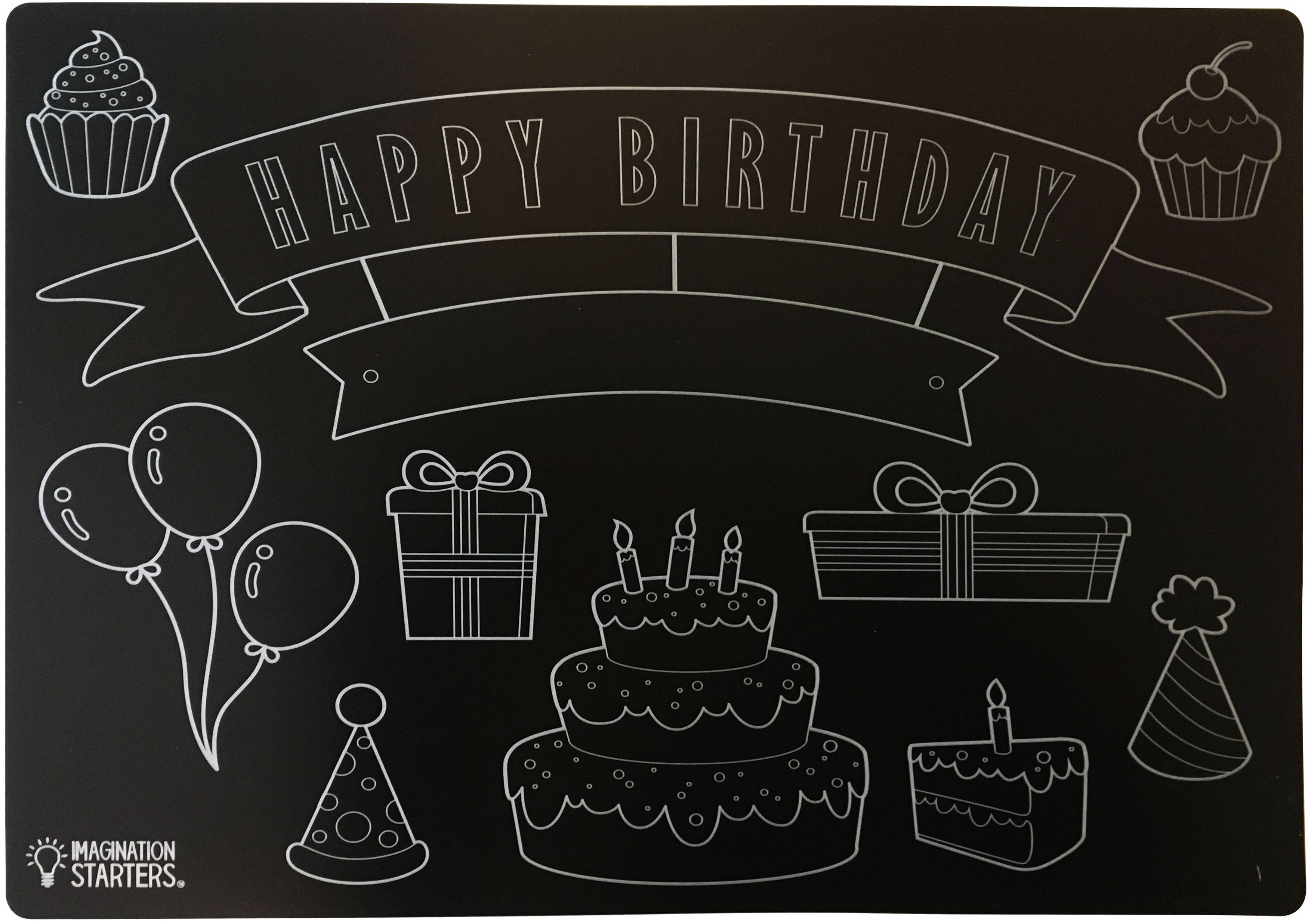 "Reversible Chalkboard Placemat 12""X17"" Black - Happy Birthday"