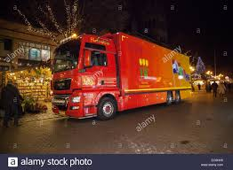 MAN Red Delivery Vehicles Holland Flower Market Delivering Goods To Chester Christmas Cheshire UK