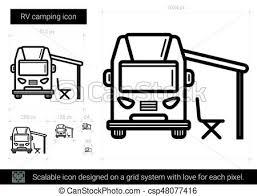 RV Camping Line Icon