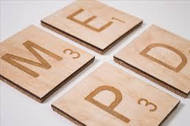 laser etched scrabble coasters look like legitimate letter tiles