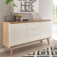 wohnzimmer sideboard mainz 61 retro skandinavisch weiß matt mit eiche