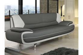 canapé simili cuir gris deco in canape 3 places design gris et blanc marita marita