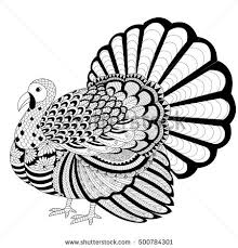 Detailed Zentangle Turkey For Coloring Page Adult And Thanksgiving Invitation Card