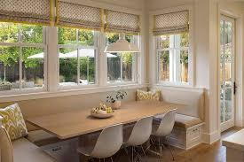 Farmhouse Style Banquette Dining Space Next To The Windows From Modern Organic Interiors