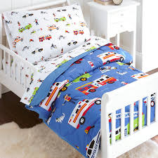 Olive Kids Heroes Police Fire Toddler Size 4 Piece Bed In A Bag Set