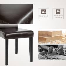 Details About 4 Pcs Leather Dining Chair Kitchen Room Backrest Elegant  Design Furniture Brown